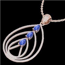 Natural 2 CTW Tanzanite & Micro Diamond Certified Designer Necklace 14K Rose Gold - 22474-REF#-93A3X