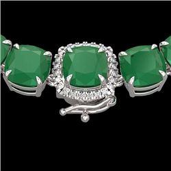 Natural 116 CTW Emerald & Diamond Halo Micro Pave Solitaire Necklace 14K White Gold - 23342-REF#-374