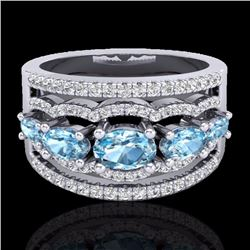 Natural 2.25 CTW Sky Blue Topaz & Micro Pave Diamond Certified Designer Ring 10K White Gold - 20795-