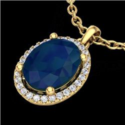 Natural 3 CTW Sapphire & Micro Pave Diamond Certified Necklace Halo 18K Yellow Gold - 21090-REF#-39R