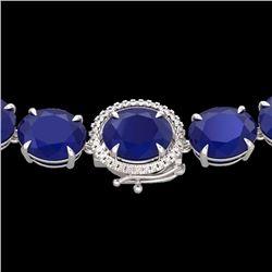 Natural 127 CTW Sapphire & Diamond Halo Micro Solitaire Necklace 14K White Gold - 22314-REF#-442M8F