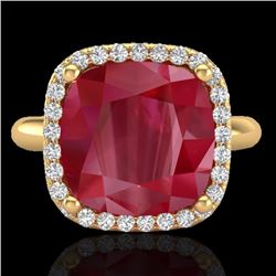 Natural 6 CTW Ruby & Micro Pave Halo Diamond Certified Ring Solitaire 18K Yellow Gold - 23103-REF#-5
