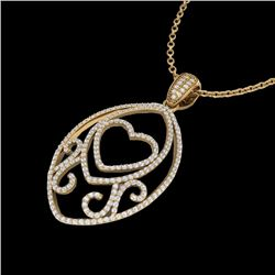 Natural 1.75 CTW Micro Pave Diamond Certified Designer Heart Necklace 18K Yellow Gold - 22590-REF#-1