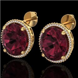 Natural 20 CTW Garnet & Micro Pave Diamond Certified Halo Earrings 18K Yellow Gold - 20274-REF#-96H2
