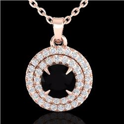 Natural 1 CTW Micro Pave Diamond Certified Solitaire Necklace Double Halo 14K Rose Gold - 21536-REF#