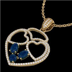 Natural 3 CTW Sapphire & Micro Pave Designer Inspired Heart Necklace 14K Yellow Gold - 22544-REF#-94