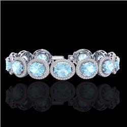 Natural 17 CTW Aquamarine & Micro Pave Diamond Certified Bracelet 10K White Gold - 22680-REF#-255V2Y