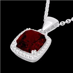 Natural 3 CTW Garnet & Micro Diamond Pave Halo Solitaire Necklace 18K White Gold - 22823-REF#-42G2N