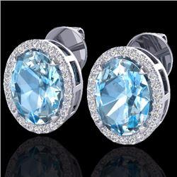 Natural 5.50 CTW Sky Blue Topaz & Micro Diamond Halo Earrings Ring 18K White Gold - 20243-REF#-62W2G