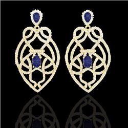 Natural 7 CTW Tanzanite & Micro Pave Diamond Earrings Designer Solitaire 14K Yellow Gold - 21144-REF