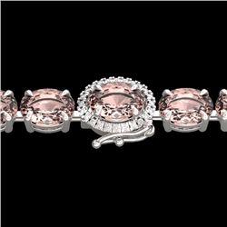 Natural 26 CTW Morganite & Diamond Eternity Tennis Micro Halo Bracelet 14K White Gold - 23431-REF#-2