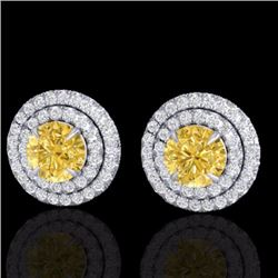 Natural 2 CTW Citrine & Micro Pave Diamond Stud Earrings Double Halo 18K White Gold - 21467-REF#-81W