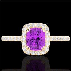 Natural 1.25 CTW Amethyst & Micro Pave Diamond Certified Halo Ring 10K Yellow Gold - 22897-REF#-25T7