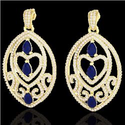 Natural 7 CTW Sapphire & Micro Pave Diamond Heart Earrings Designer IN 18K Yellow Gold - 21161-REF#-