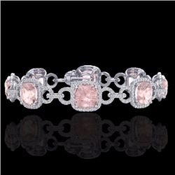 Natural 22 CTW Morganite & Micro Diamond Certified Bracelet 14K White Gold - 23026-REF#-432A8X