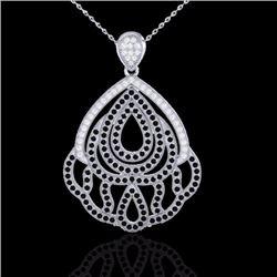Natural 1.50 CTW Micro Black & White Diamond SI Necklace Designer IN 18K White Gold - 21279-REF#-135