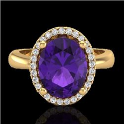 Natural 2.50 CTW Amethyst & Micro Pave Diamond Certified Ring Halo 18K Yellow Gold - 21093-REF#-38G3