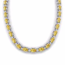 46.50 CTW CITRINE & DIAMOND SI-I CERTIFIED ETERNITY TENNIS NECKLACE - 29419-#198Z3Y