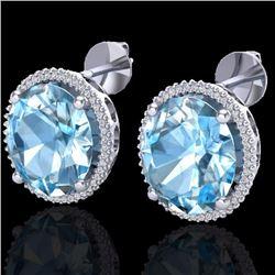 Natural 25 CTW Sky Blue Topaz & Micro Diamond Certified Halo Earrings 18K White Gold - 20265-REF#-11