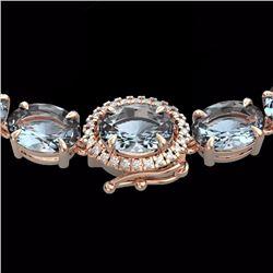 Natural 90 CTW Sky Blue Topaz & Diamond Tennis Micro Halo Necklace 14K Rose Gold - 23481-REF#-167W2G