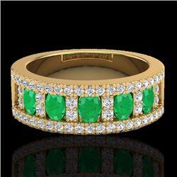 Natural 2.34 CTW Emerald & Micro Pave Diamond Designer Ring 10K Yellow Gold - 20825-REF#-49K2W