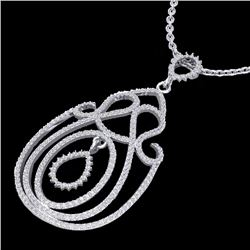 Natural 2 CTW Micro Pave Designer Diamond Certified Necklace 14K White Gold - 22449-REF#-119Y9Z