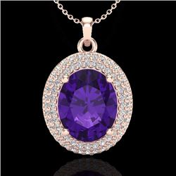 Natural 4 CTW Amethyst & Micro Pave Diamond Certified Necklace 14K Rose Gold - 20550-REF#-58K3W