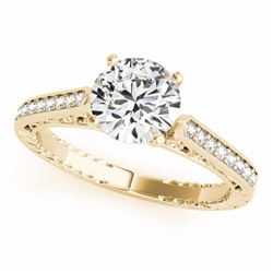 0.65 CTW Certified SI-I Diamond Solitaire Bridal Antique Ring 18K Yellow - 27371-#91R2K
