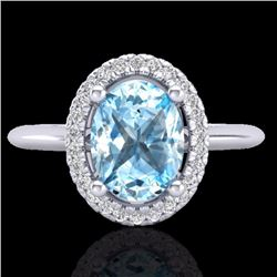 Natural 2 CTW Sky Blue Topaz & Micro Diamond Bridal Ring Solitaire Halo 18K White Gold - 21004-REF#-
