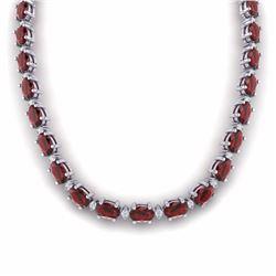 46.50 CTW GARNET & DIAMOND SI-I CERTIFIED ETERNITY TENNIS NECKLACE - 29424-#190W8K
