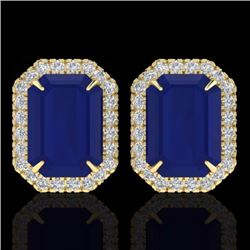 Natural 14 CTW Sapphire & Micro Pave Diamond Certified Halo Earrings 18K Yellow Gold - 21234-REF#-76