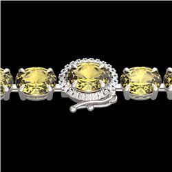 Natural 29 CTW Citrine & Diamond Tennis Micro Pave Halo Bracelet 14K White Gold - 23418-REF#-81M7F