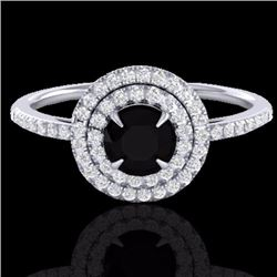 Natural 1 CTW Micro Pave Diamond Solitaire Bridal Ring Double Halo 18K White Gold - 21609-REF#-56T8K