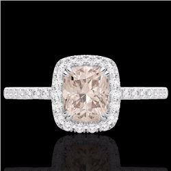 Natural 1.25 CTW Morganite & Micro Pave Diamond Certified Halo Ring 10K White Gold - 22906-REF#-32R8