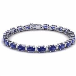 26.30 CTW TANZANITE & DIAMOND SI-I CERTIFIED ETERNITY TENNIS BRACELET - 29463-#443V3R