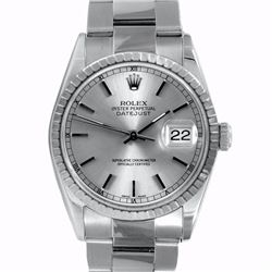 Pre-owned Excellent Condition Authentic Rolex Non-Quickset Men's Stainless Steel DateJust Silver Dia
