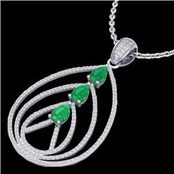 Natural 2 CTW Emerald & Micro Pave Diamond Certified Designer Necklace 18K White Gold - 22467-REF#-1
