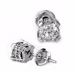Natural 2.0 ctw Diamond Solitaire Stud Earrings 14K White Gold - 10456-#381X2Y