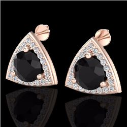Natural 3.50 CTW Micro Pave Halo Solitaire Black Diamond SI Stud Earrings 14K Rose Gold - 20182-REF#