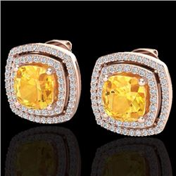 Natural 3 CTW Citrine & Micro Pave Diamond Certified Halo Earrings 14K Rose Gold - 20159-REF#-77W7G