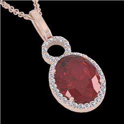 Natural 4 CTW Garnet & Micro Pave Solitaire Halo Diamond Necklace 14K Rose Gold - 22762-REF#-35K5W