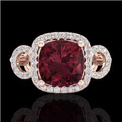 Natural 3.75 CTW Garnet & Micro Diamond Certified Ring 14K Rose Gold - 23004-REF#-61H8M