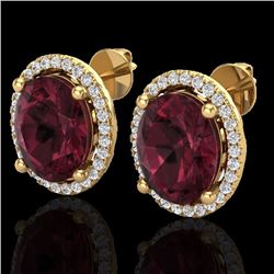 Natural 5 CTW Garnet & Micro Pave Diamond Certified Earrings Halo 18K Yellow Gold - 21057-REF#-55Y8Z