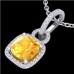 Natural 3.50 CTW Citrine & Micro Diamond Certified Necklace 18K White Gold - 22978-REF#-45Y7Z