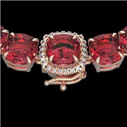 Natural 100 CTW Pink Tourmaline & Diamond Halo Micro Necklace 14K Rose Gold - 23357-REF#-707Z2R