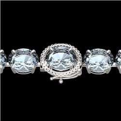 Natural 49 CTW Sky Blue Topaz & Micro Diamond Halo Bracelet 14K White Gold - 22283-REF#-119N2A