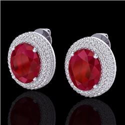Natural 9.20 CTW Ruby & Micro Pave Diamond Certified Earrings 18K White Gold - 20232-REF#-129V5Y