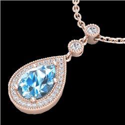 Natural 2.25 CTW Sky Blue Topaz & Micro Pave Diamond Necklace Designer 14K Rose Gold - 23143-REF#-31