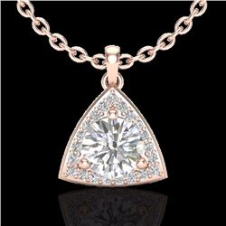 Natural 1.50 CTW Micro Pave Halo Solitaire Diamond Certified Necklace 14K Rose Gold - 20523-REF#-349