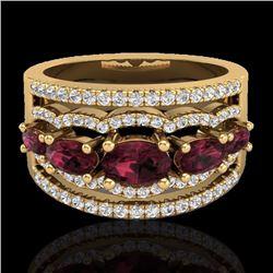 Natural 2.25 CTW Garnet & Micro Pave Diamond Certified Designer Ring 10K Yellow Gold - 21039-REF#-59